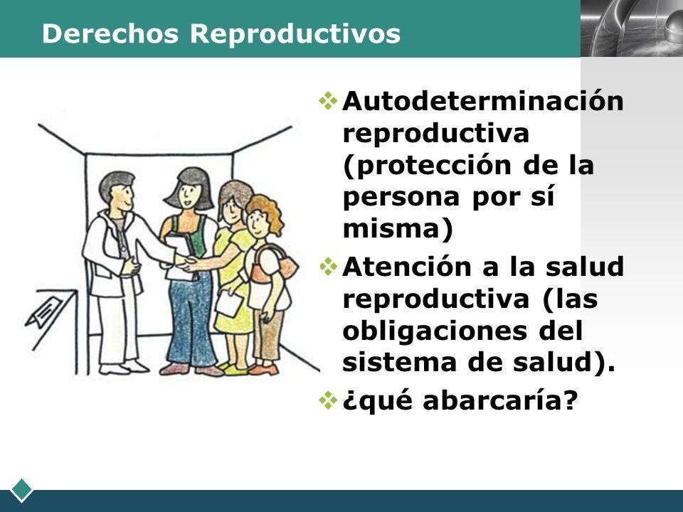 LOGO Derechos Reproductivos Autodeterminación reproductiva (protección de la persona por sí misma) Atención a la salud reproductiva (las obligaciones