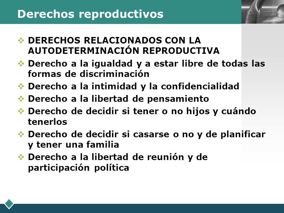 LOGO Derechos reproductivos DERECHOS RELACIONADOS CON LA AUTODETERMINACIÓN REPRODUCTIVA Derecho a la igualdad y a estar libre de todas las formas de d