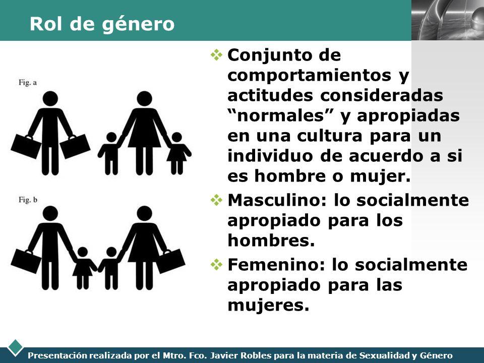 LOGO Presentación realizada por el Mtro. Fco. Javier Robles para la materia de Sexualidad y Género Rol de género Conjunto de comportamientos y actitud