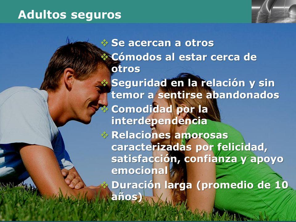 LOGO Presentación realizada por: Mtro. Fco. Javier Robles Ojeda. Adultos seguros Se acercan a otros Se acercan a otros Cómodos al estar cerca de otros