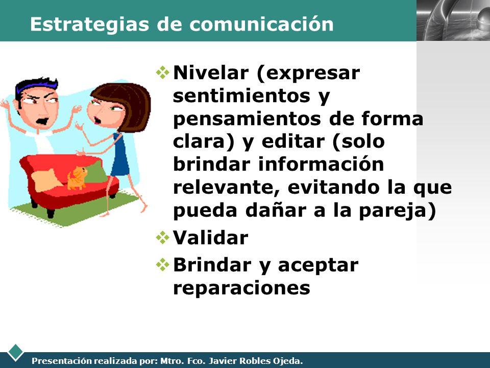 LOGO Presentación realizada por: Mtro. Fco. Javier Robles Ojeda. Estrategias de comunicación Nivelar (expresar sentimientos y pensamientos de forma cl