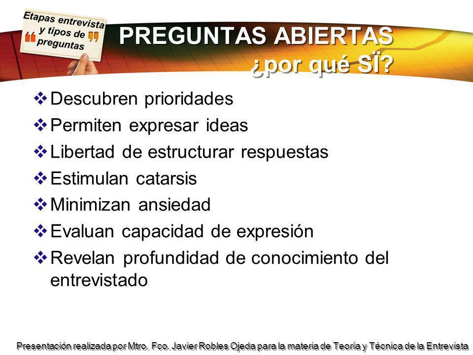 Etapas entrevista y tipos de preguntas Presentación realizada por Mtro.