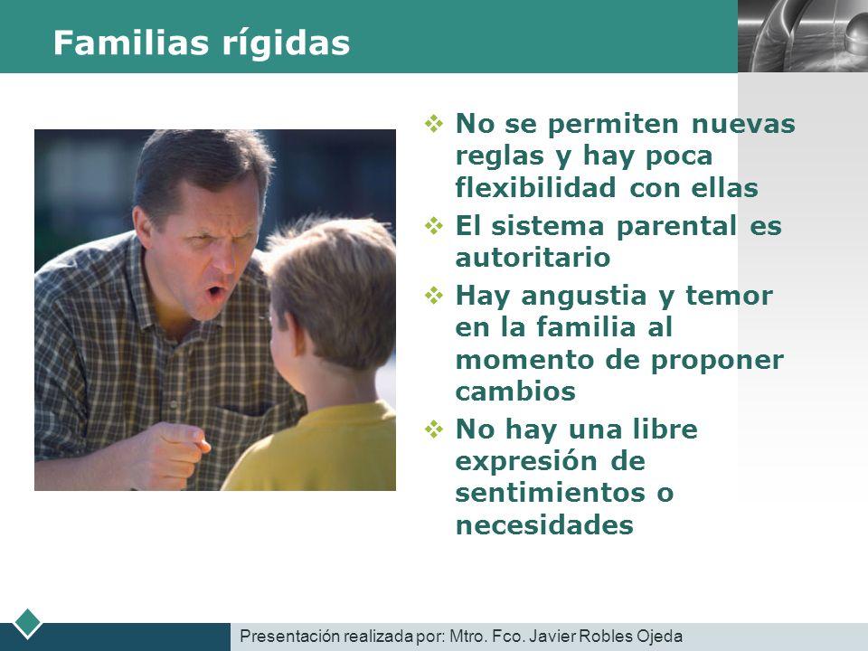 LOGO Familias rígidas No se permiten nuevas reglas y hay poca flexibilidad con ellas El sistema parental es autoritario Hay angustia y temor en la fam