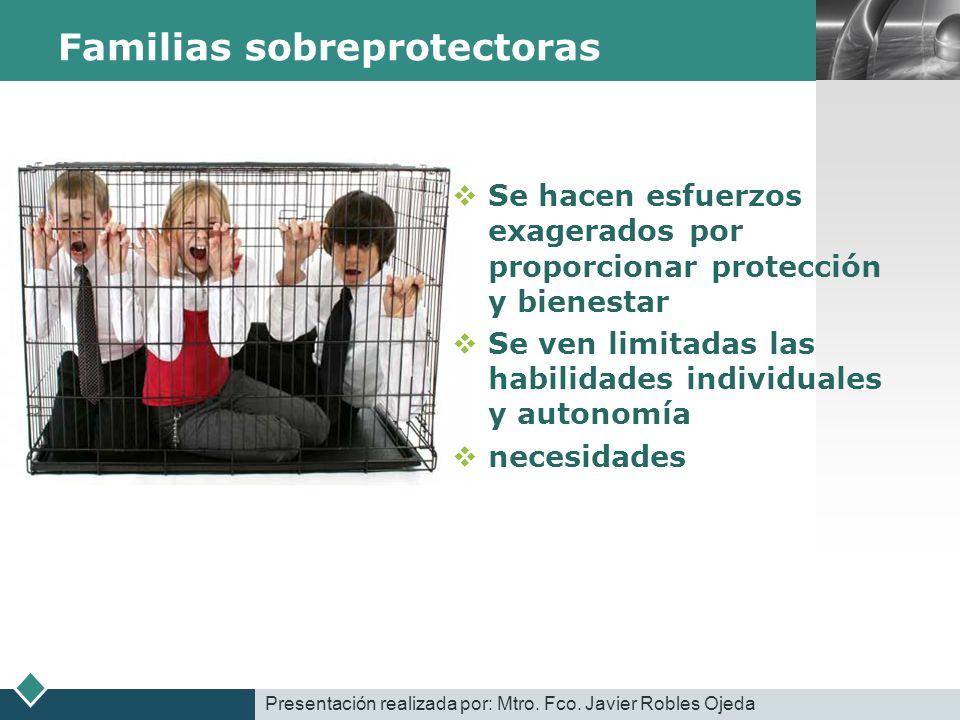 LOGO Familias sobreprotectoras Se hacen esfuerzos exagerados por proporcionar protección y bienestar Se ven limitadas las habilidades individuales y a