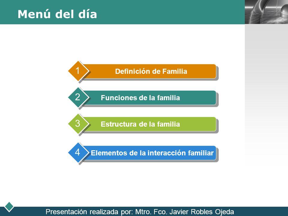 LOGO Menú del día Definición de Familia 1 Funciones de la familia 2 Estructura de la familia 3 Elementos de la interacción familiar 4 Presentación rea