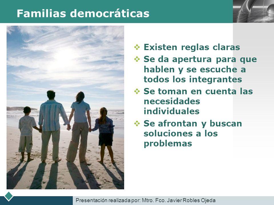 LOGO Familias democráticas Existen reglas claras Se da apertura para que hablen y se escuche a todos los integrantes Se toman en cuenta las necesidade