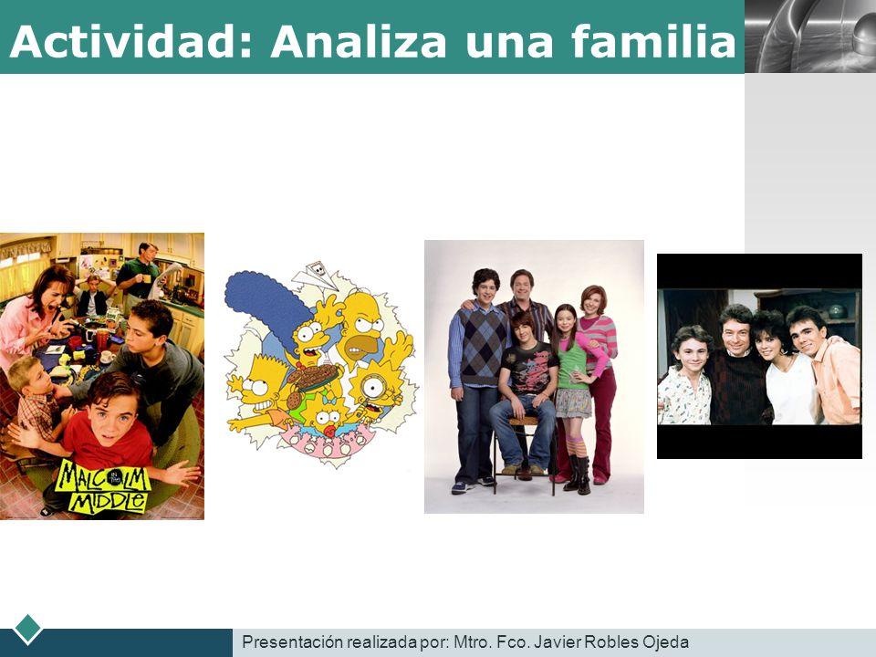 LOGO Actividad: Analiza una familia Presentación realizada por: Mtro. Fco. Javier Robles Ojeda