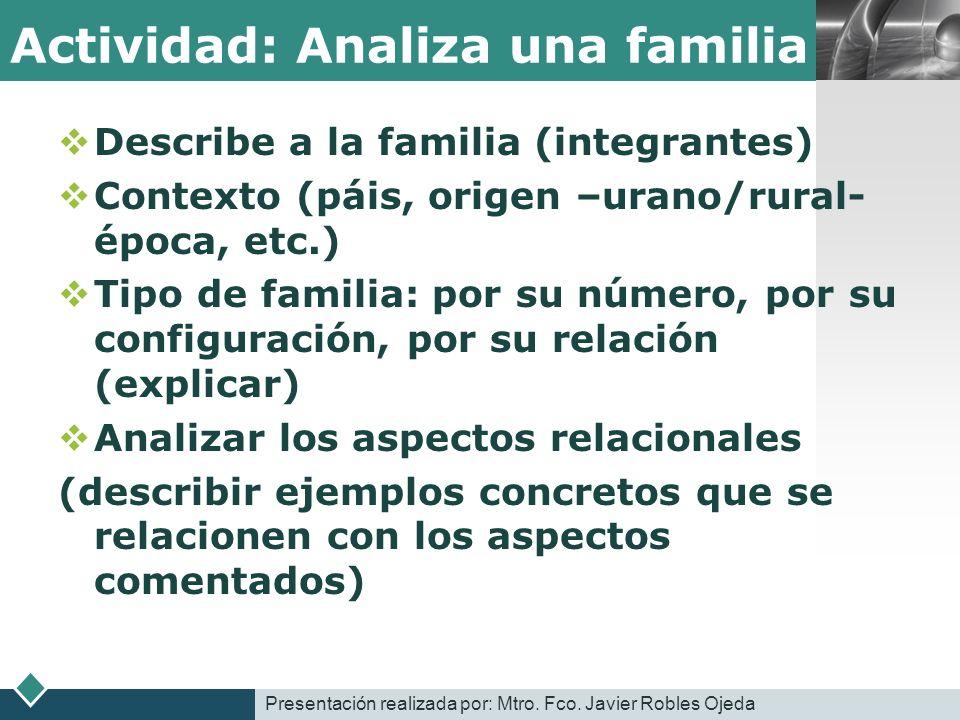 LOGO Actividad: Analiza una familia Describe a la familia (integrantes) Contexto (páis, origen –urano/rural- época, etc.) Tipo de familia: por su núme
