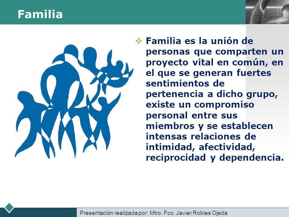 LOGO Familia Familia es la unión de personas que comparten un proyecto vital en común, en el que se generan fuertes sentimientos de pertenencia a dich