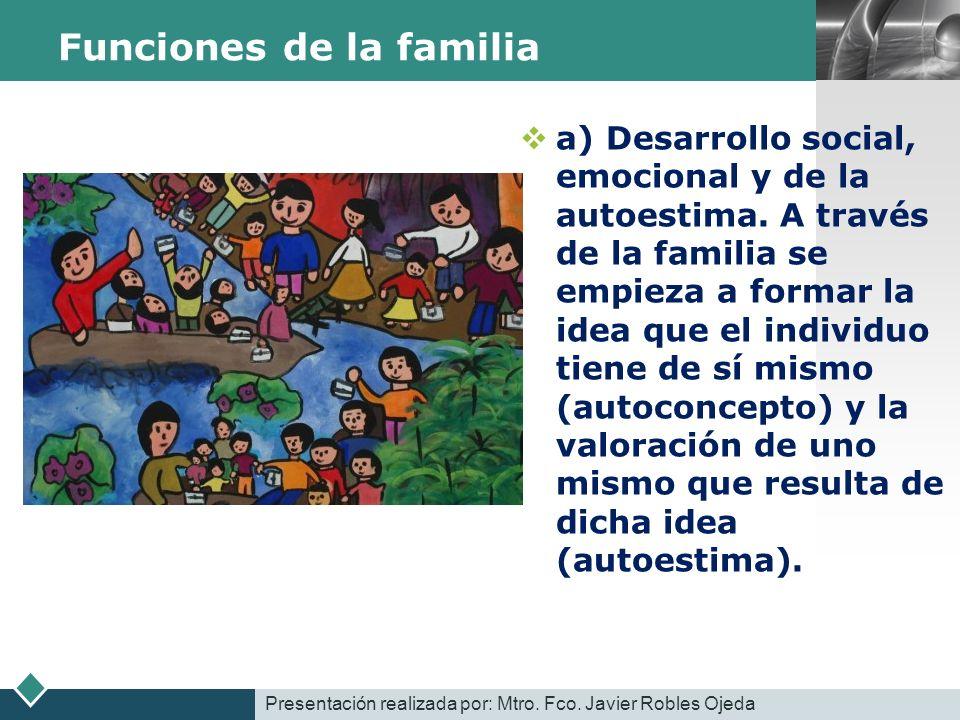 LOGO Funciones de la familia a) Desarrollo social, emocional y de la autoestima. A través de la familia se empieza a formar la idea que el individuo t