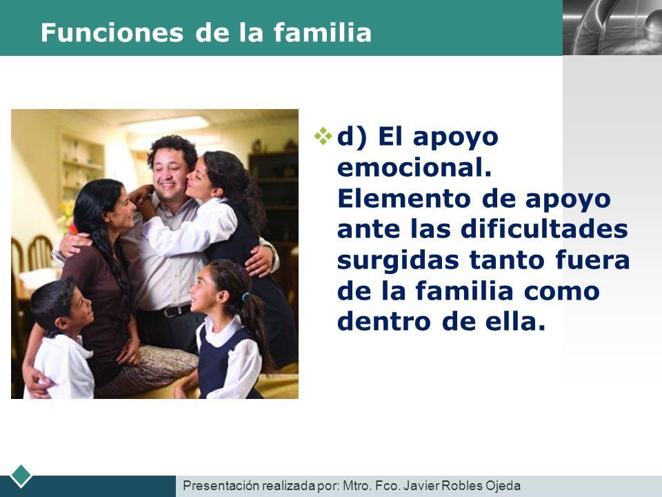 LOGO Funciones de la familia d) El apoyo emocional. Elemento de apoyo ante las dificultades surgidas tanto fuera de la familia como dentro de ella. Pr