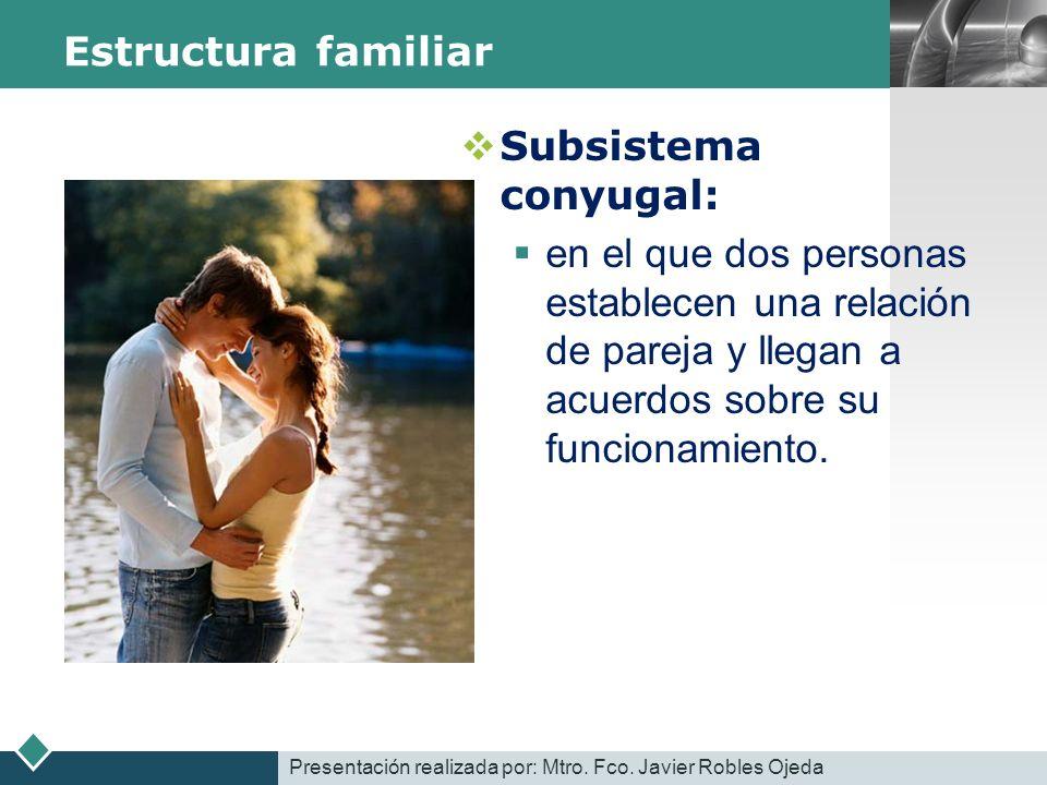 LOGO Estructura familiar Subsistema conyugal: en el que dos personas establecen una relación de pareja y llegan a acuerdos sobre su funcionamiento. Pr