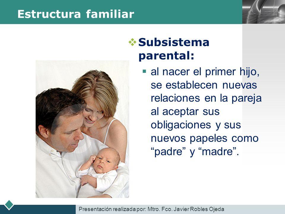 LOGO Estructura familiar Subsistema parental: al nacer el primer hijo, se establecen nuevas relaciones en la pareja al aceptar sus obligaciones y sus