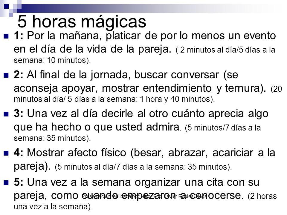 Presentación realizada por: Mtro. Fco. Javier Robles Ojeda 5 horas mágicas 1: Por la mañana, platicar de por lo menos un evento en el día de la vida d