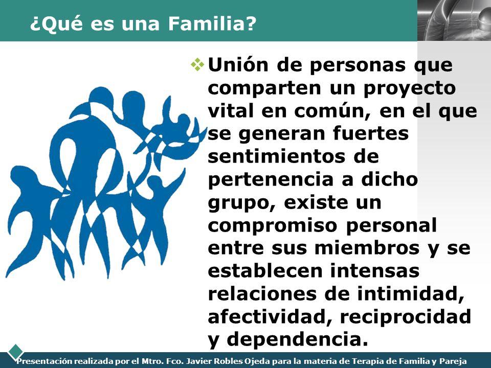 LOGO Presentación realizada por el Mtro. Fco. Javier Robles Ojeda para la materia de Terapia de Familia y Pareja ¿Qué es una Familia? Unión de persona