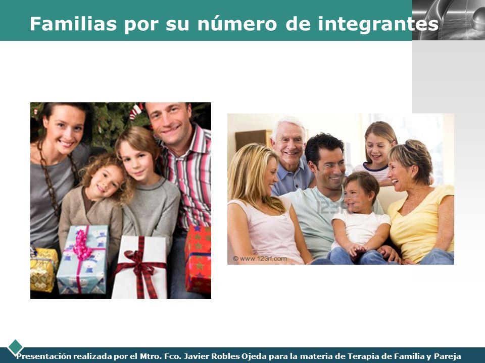 LOGO Presentación realizada por el Mtro. Fco. Javier Robles Ojeda para la materia de Terapia de Familia y Pareja Familias por su número de integrantes