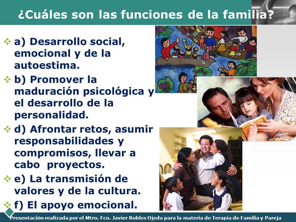 LOGO Presentación realizada por el Mtro. Fco. Javier Robles Ojeda para la materia de Terapia de Familia y Pareja ¿Cuáles son las funciones de la famil