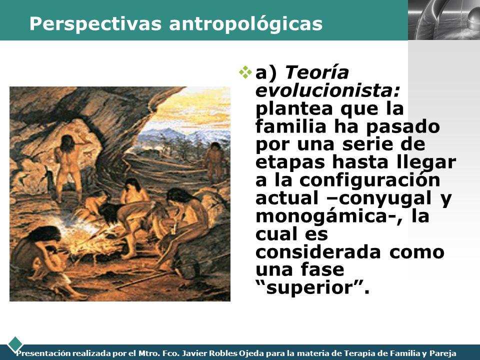 LOGO Presentación realizada por el Mtro. Fco. Javier Robles Ojeda para la materia de Terapia de Familia y Pareja Perspectivas antropológicas a) Teoría