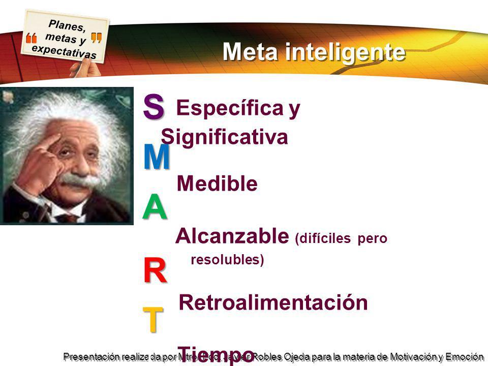 Planes, metas y expectativas Presentación realizada por Mtro. Fco. Javier Robles Ojeda para la materia de Motivación y Emoción Meta inteligente S Espe