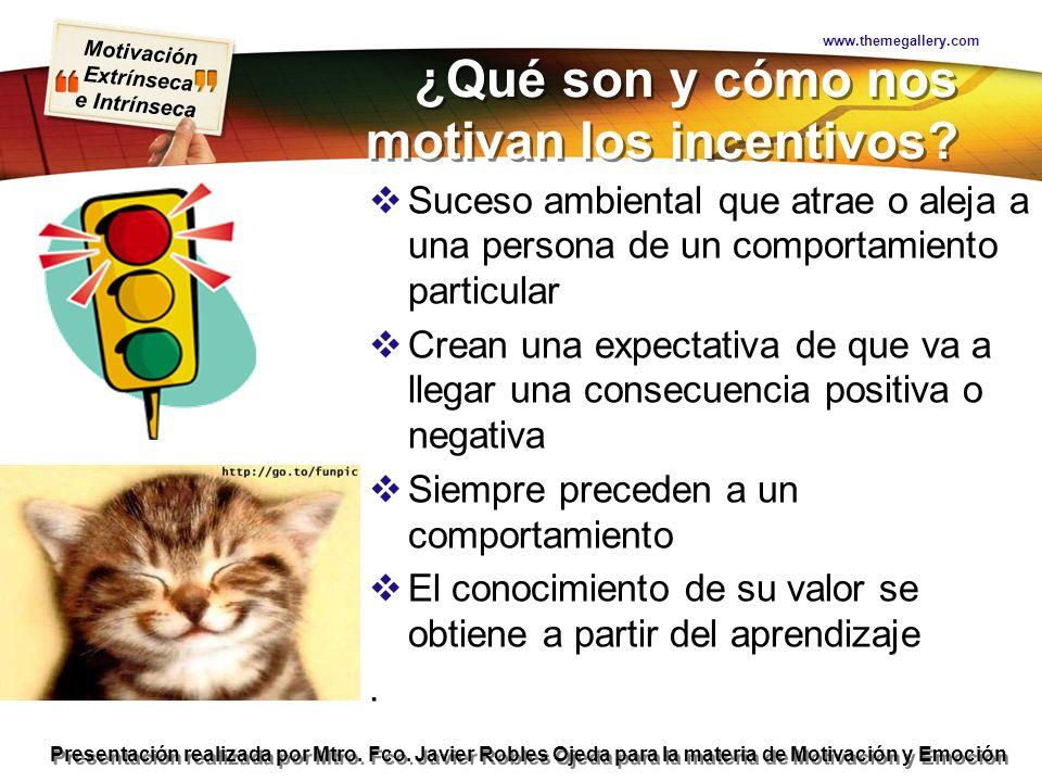 Motivación Extrínseca e Intrínseca Presentación realizada por Mtro. Fco. Javier Robles Ojeda para la materia de Motivación y Emoción ¿Qué son y cómo n