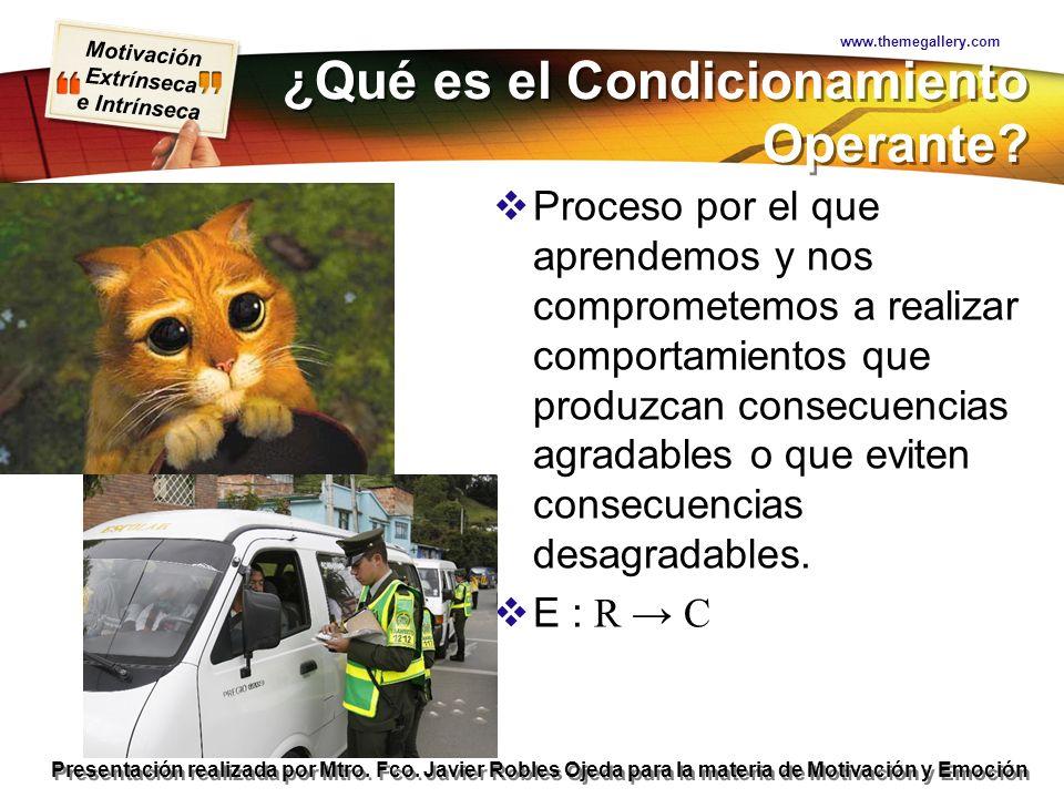 Motivación Extrínseca e Intrínseca Presentación realizada por Mtro. Fco. Javier Robles Ojeda para la materia de Motivación y Emoción ¿Qué es el Condic