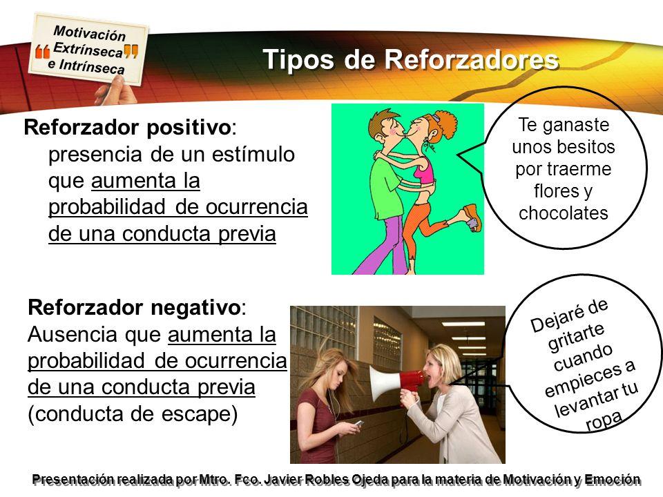 Motivación Extrínseca e Intrínseca Presentación realizada por Mtro. Fco. Javier Robles Ojeda para la materia de Motivación y Emoción Reforzador positi