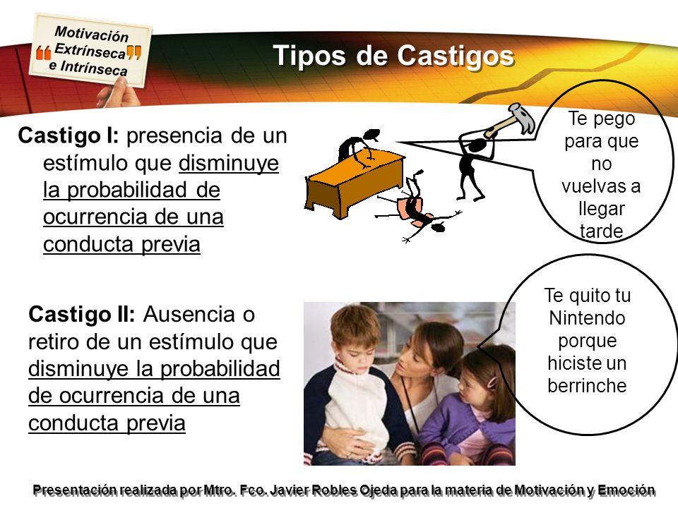 Motivación Extrínseca e Intrínseca Presentación realizada por Mtro. Fco. Javier Robles Ojeda para la materia de Motivación y Emoción Castigo I: presen