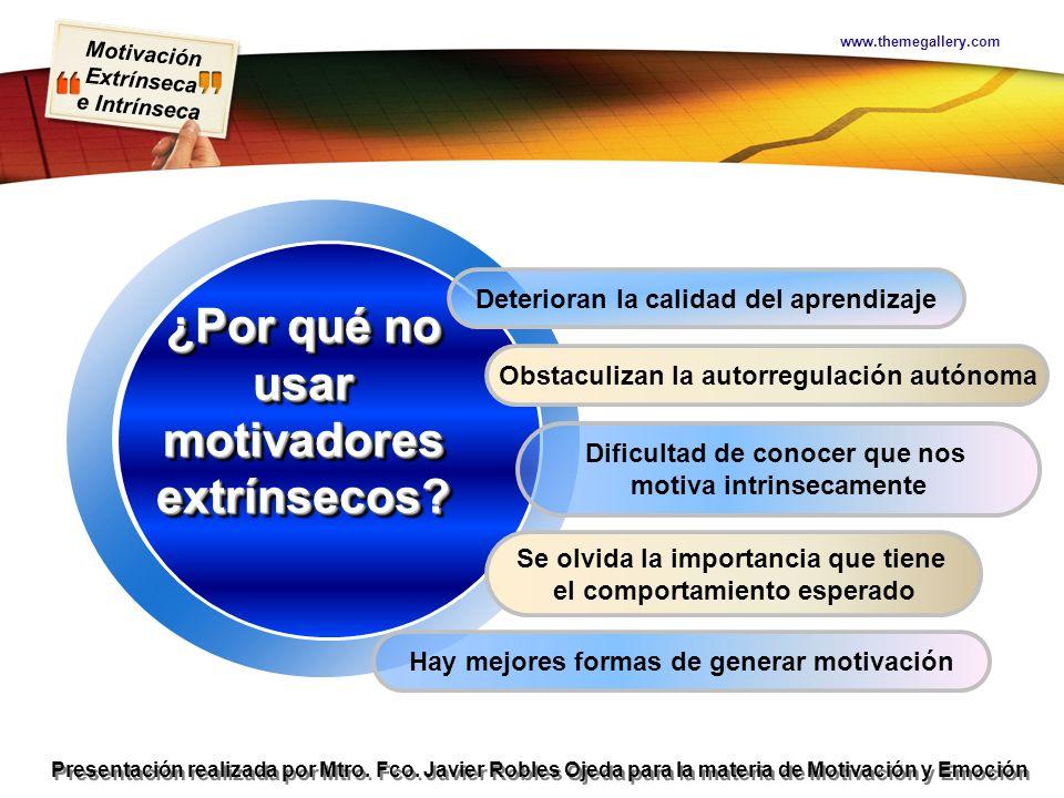 Motivación Extrínseca e Intrínseca Presentación realizada por Mtro. Fco. Javier Robles Ojeda para la materia de Motivación y Emoción www.themegallery.