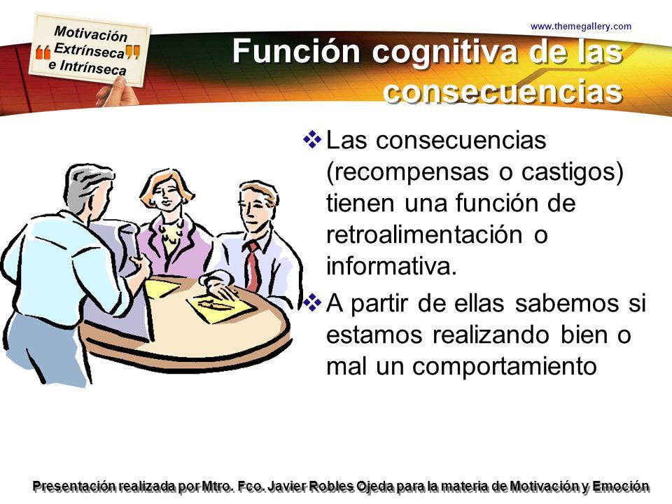 Motivación Extrínseca e Intrínseca Presentación realizada por Mtro. Fco. Javier Robles Ojeda para la materia de Motivación y Emoción Función cognitiva