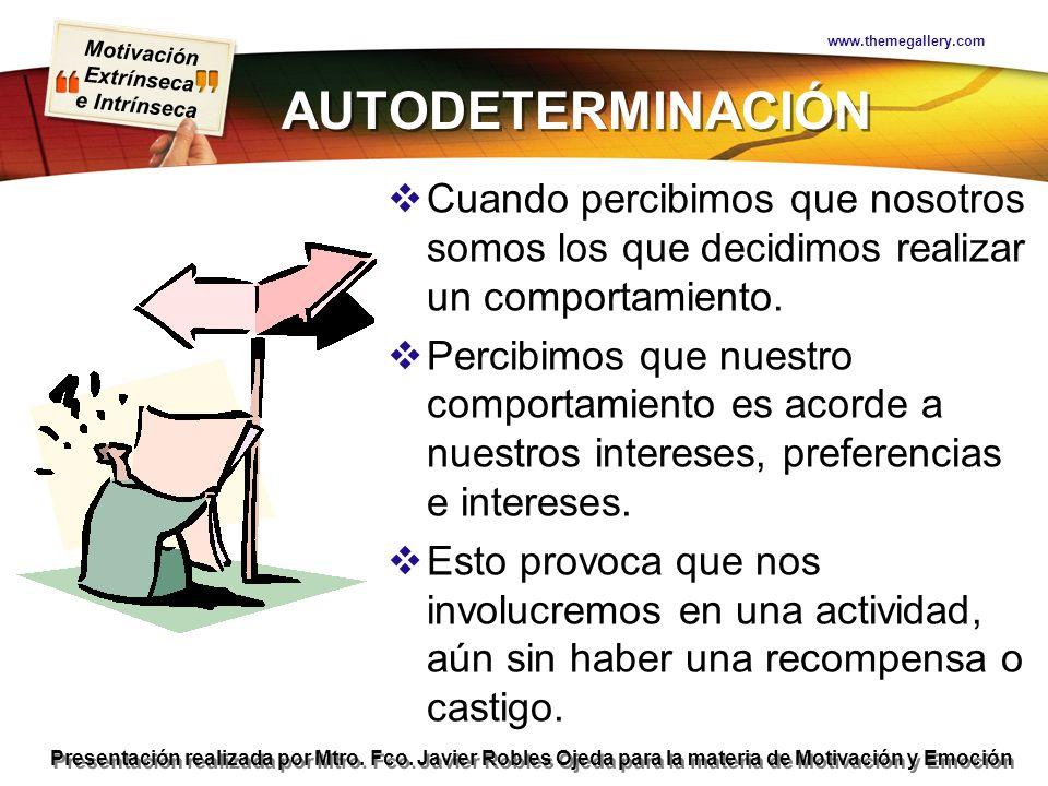 Motivación Extrínseca e Intrínseca Presentación realizada por Mtro. Fco. Javier Robles Ojeda para la materia de Motivación y Emoción AUTODETERMINACIÓN
