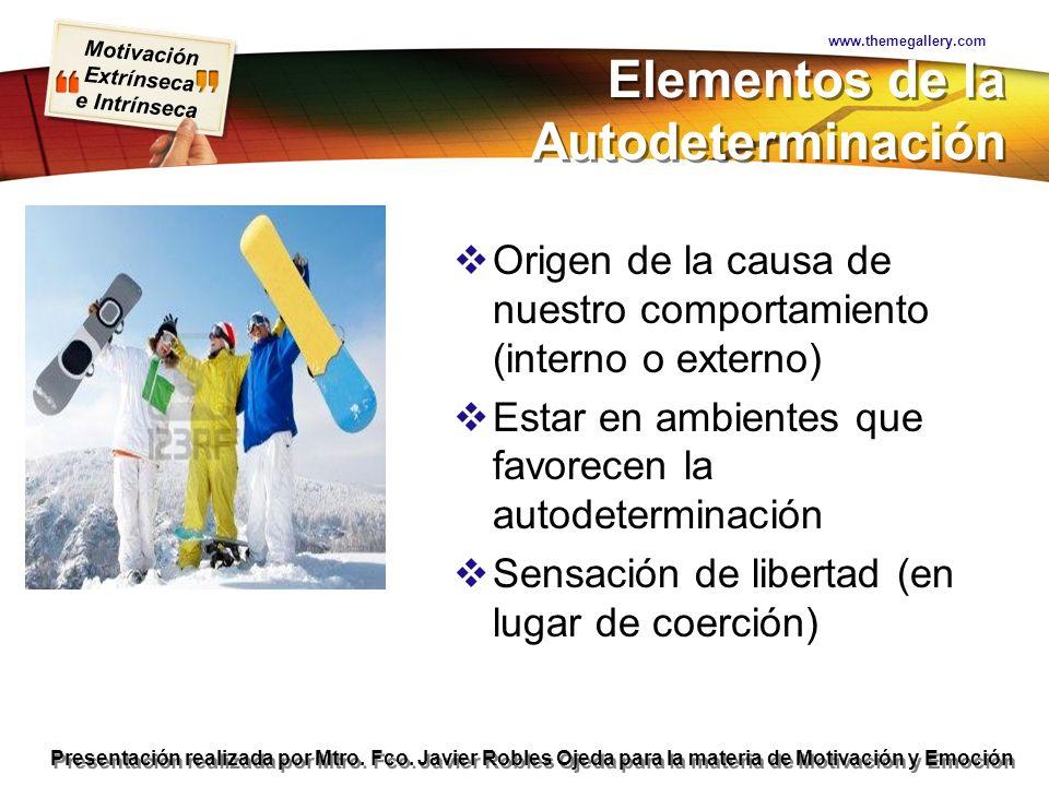 Motivación Extrínseca e Intrínseca Presentación realizada por Mtro. Fco. Javier Robles Ojeda para la materia de Motivación y Emoción Elementos de la A