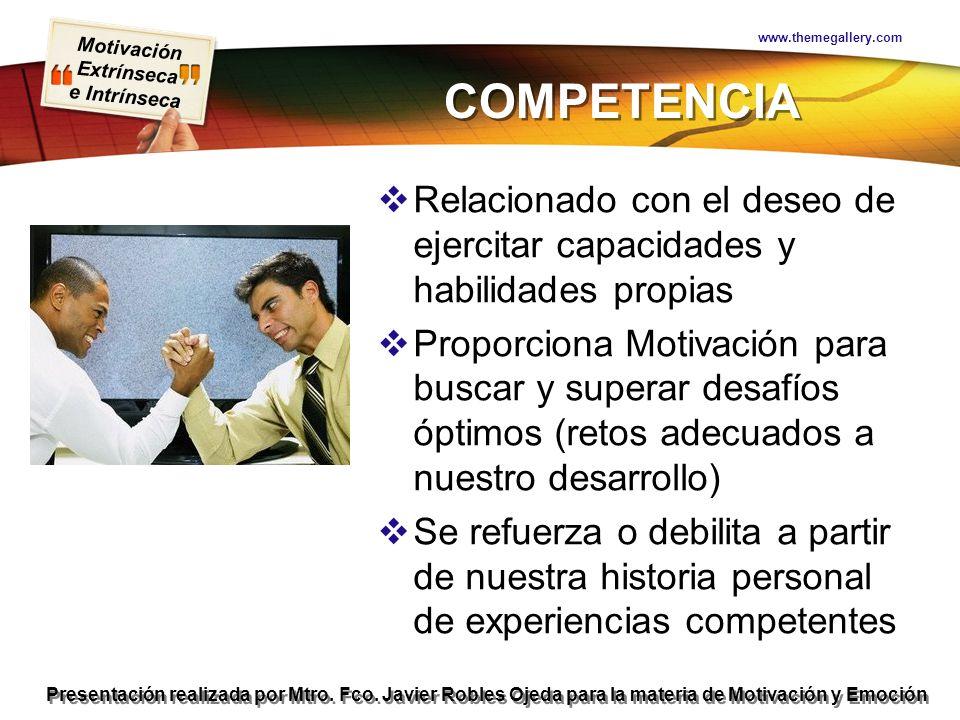 Motivación Extrínseca e Intrínseca Presentación realizada por Mtro. Fco. Javier Robles Ojeda para la materia de Motivación y Emoción COMPETENCIA Relac