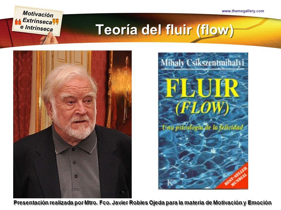 Motivación Extrínseca e Intrínseca Presentación realizada por Mtro. Fco. Javier Robles Ojeda para la materia de Motivación y Emoción Teoría del fluir