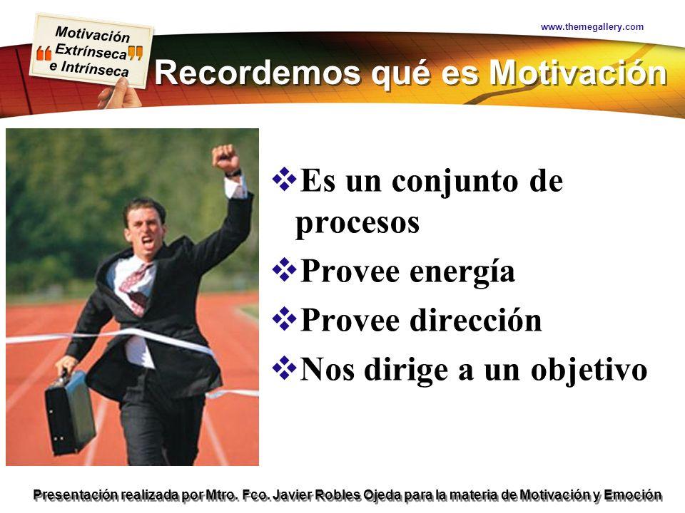 Motivación Extrínseca e Intrínseca Presentación realizada por Mtro. Fco. Javier Robles Ojeda para la materia de Motivación y Emoción Recordemos qué es