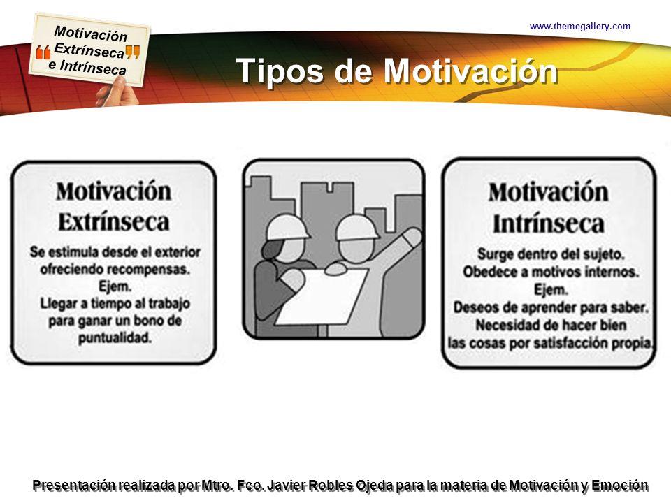 Motivación Extrínseca e Intrínseca Presentación realizada por Mtro. Fco. Javier Robles Ojeda para la materia de Motivación y Emoción Tipos de Motivaci