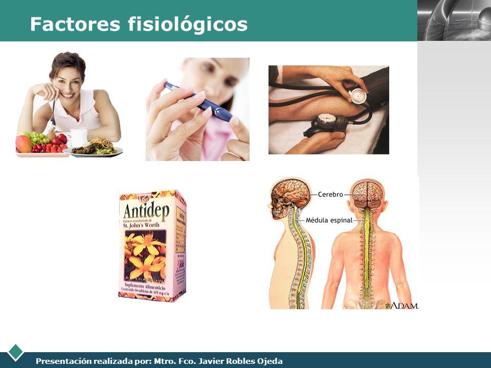 LOGO Presentación realizada por: Mtro. Fco. Javier Robles Ojeda Factores fisiológicos