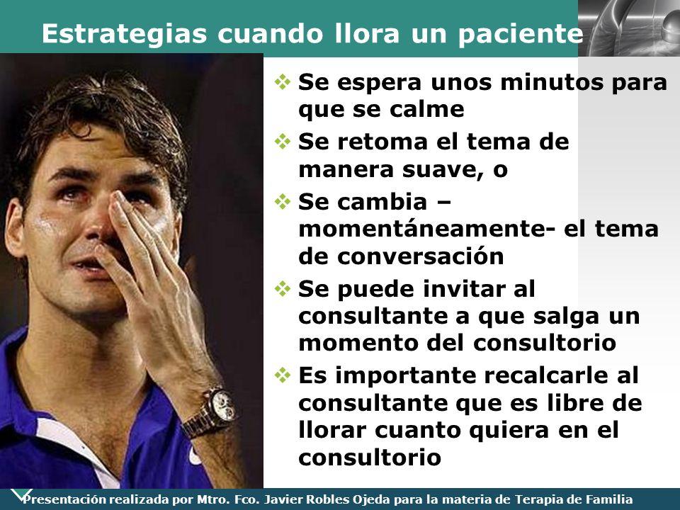 LOGO Presentación realizada por Mtro. Fco. Javier Robles Ojeda para la materia de Terapia de Familia Estrategias cuando llora un paciente Se espera un