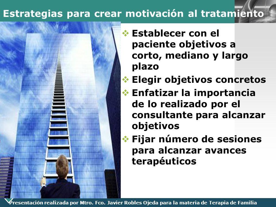 LOGO Presentación realizada por Mtro. Fco. Javier Robles Ojeda para la materia de Terapia de Familia Estrategias para crear motivación al tratamiento