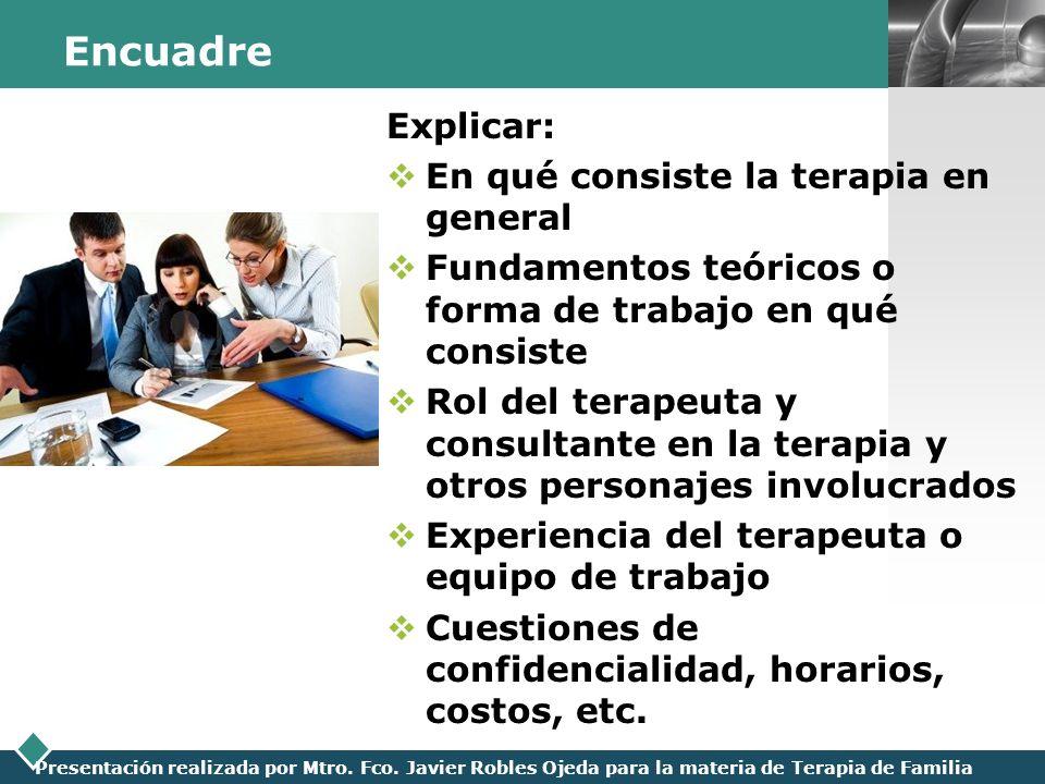 LOGO Presentación realizada por Mtro. Fco. Javier Robles Ojeda para la materia de Terapia de Familia Encuadre Explicar: En qué consiste la terapia en