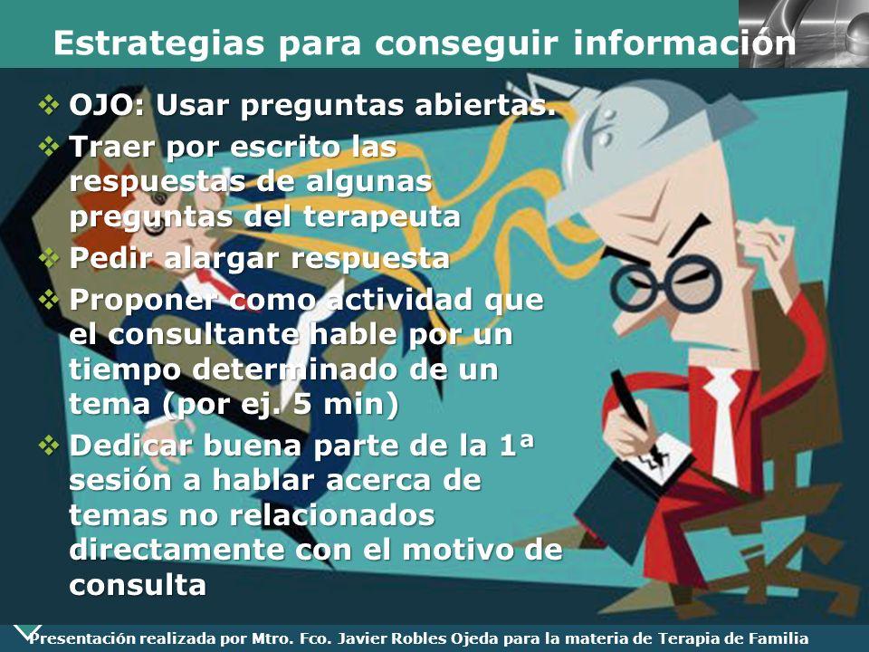 LOGO Presentación realizada por Mtro. Fco. Javier Robles Ojeda para la materia de Terapia de Familia Estrategias para conseguir información OJO: Usar