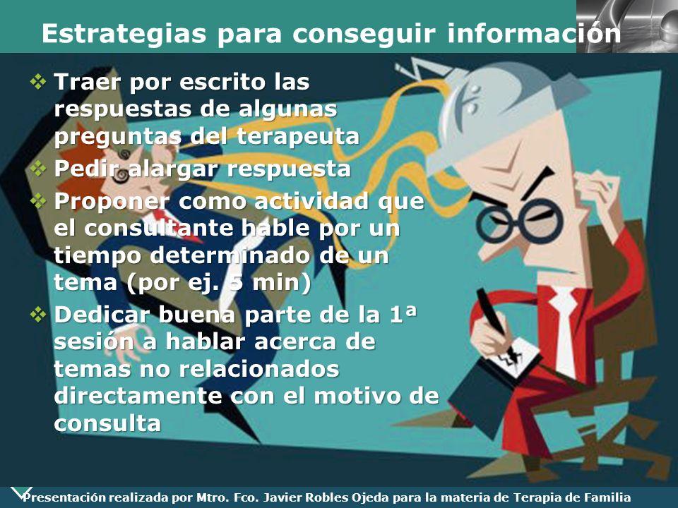 LOGO Presentación realizada por Mtro. Fco. Javier Robles Ojeda para la materia de Terapia de Familia Estrategias para conseguir información Traer por