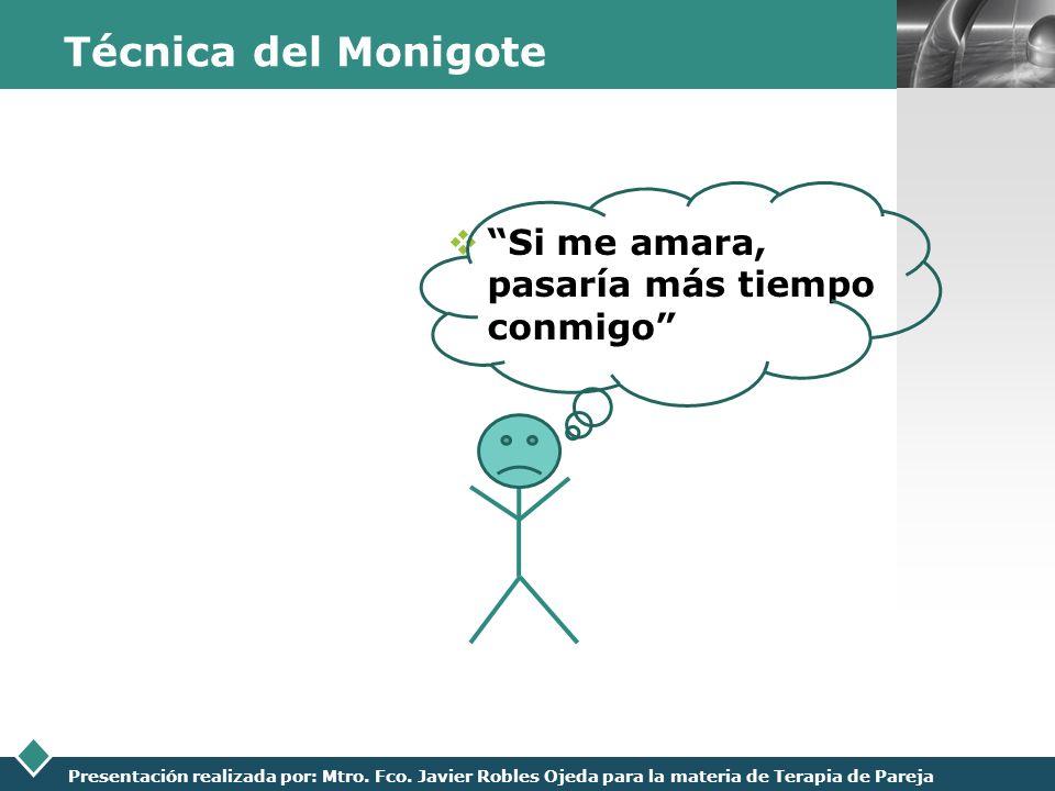 LOGO Presentación realizada por: Mtro. Fco. Javier Robles Ojeda para la materia de Terapia de Pareja Técnica del Monigote Si me amara, pasaría más tie