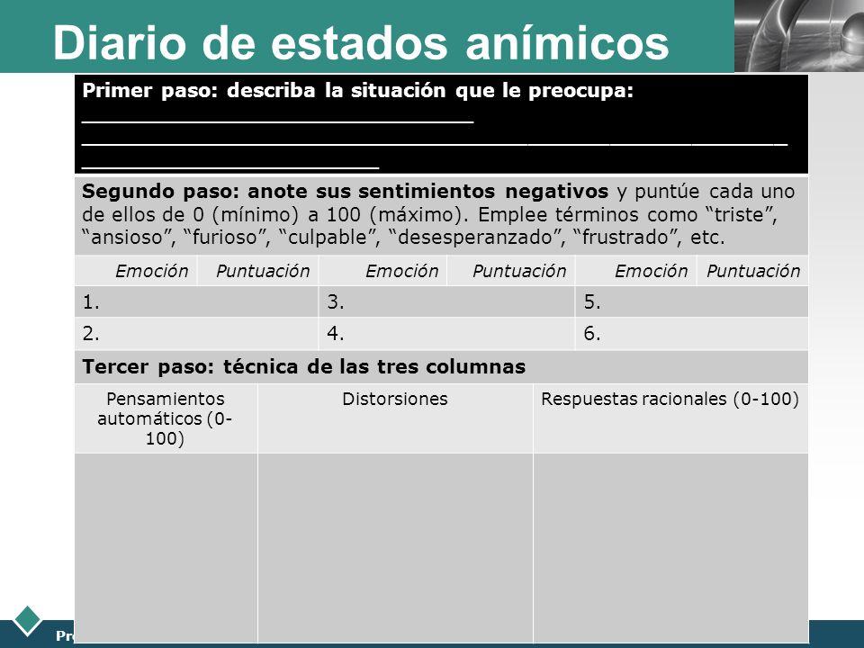 LOGO Presentación realizada por: Mtro. Fco. Javier Robles Ojeda para la materia de Terapia de Pareja Diario de estados anímicos Primer paso: describa