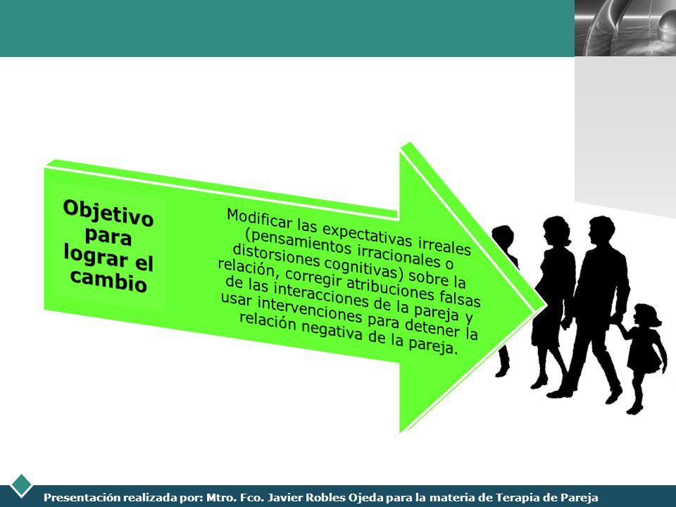 LOGO Presentación realizada por: Mtro. Fco. Javier Robles Ojeda para la materia de Terapia de Pareja