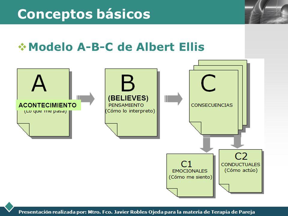 LOGO Presentación realizada por: Mtro. Fco. Javier Robles Ojeda para la materia de Terapia de Pareja Conceptos básicos Modelo A-B-C de Albert Ellis AC