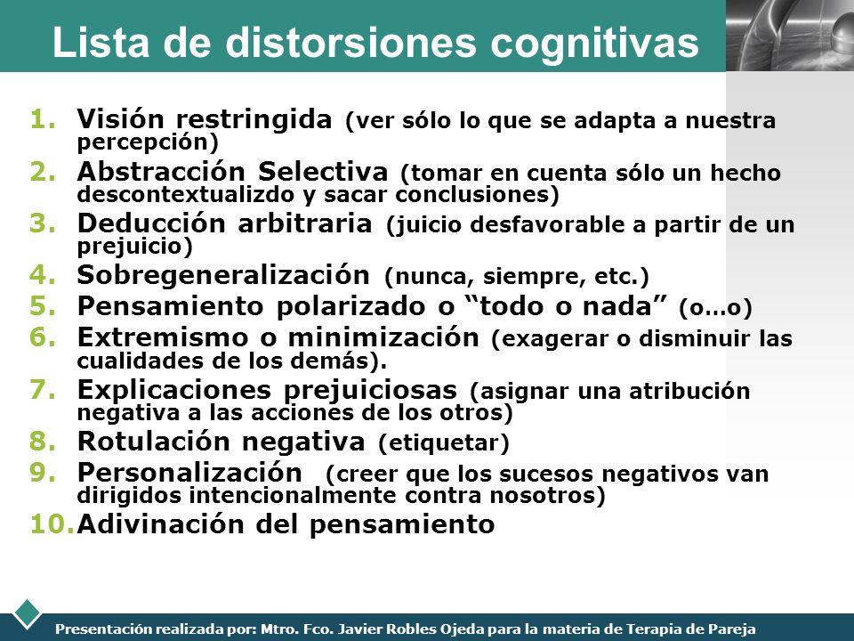LOGO Presentación realizada por: Mtro. Fco. Javier Robles Ojeda para la materia de Terapia de Pareja Lista de distorsiones cognitivas 1.Visión restrin