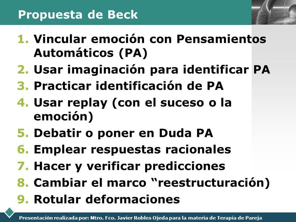 LOGO Presentación realizada por: Mtro. Fco. Javier Robles Ojeda para la materia de Terapia de Pareja Propuesta de Beck 1.Vincular emoción con Pensamie