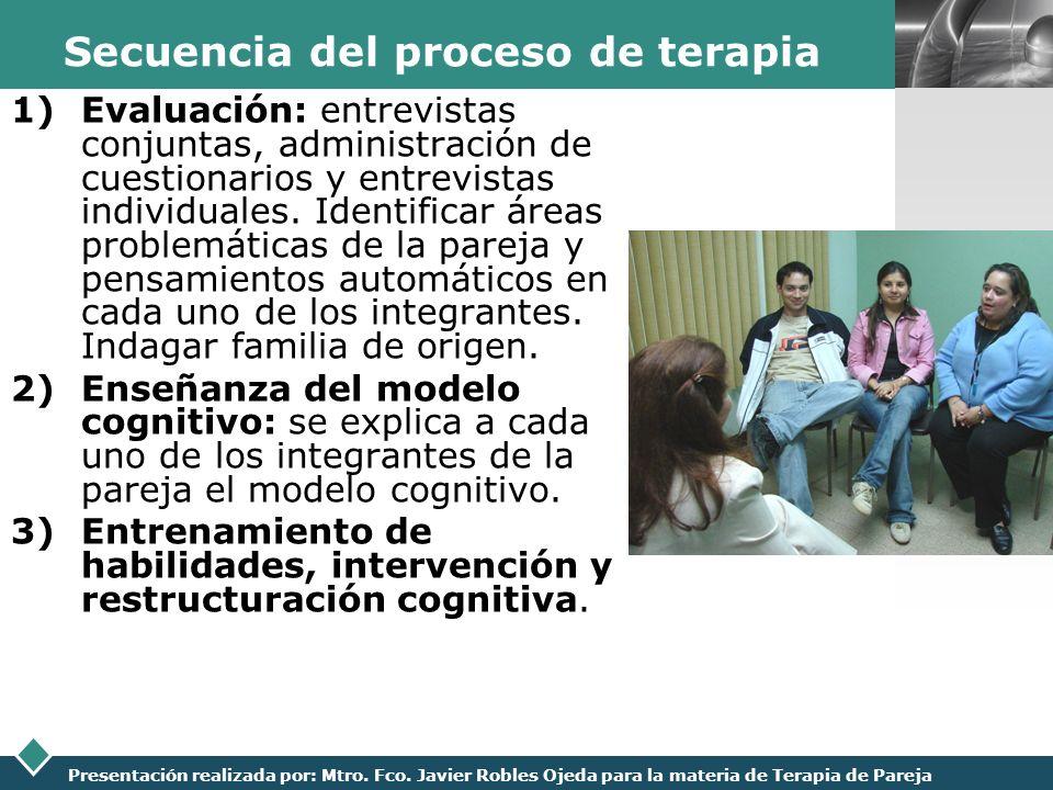 LOGO Presentación realizada por: Mtro. Fco. Javier Robles Ojeda para la materia de Terapia de Pareja Secuencia del proceso de terapia 1)Evaluación: en