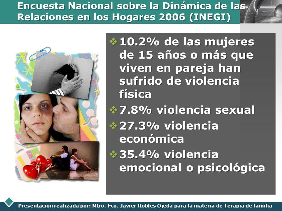 LOGO Presentación realizada por: Mtro. Fco. Javier Robles Ojeda para la materia de Terapia de familia Encuesta Nacional sobre la Dinámica de las Relac