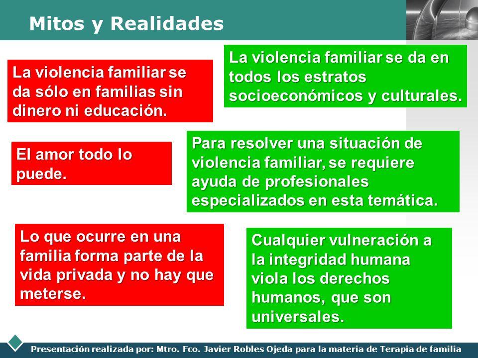 LOGO Presentación realizada por: Mtro. Fco. Javier Robles Ojeda para la materia de Terapia de familia Mitos y Realidades La violencia familiar se da s